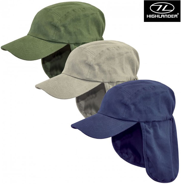 HIGHLANDER HEADWEAR FOLD-UP LEGIONNAIRES SUN PROTECT NECK FLAP CAP