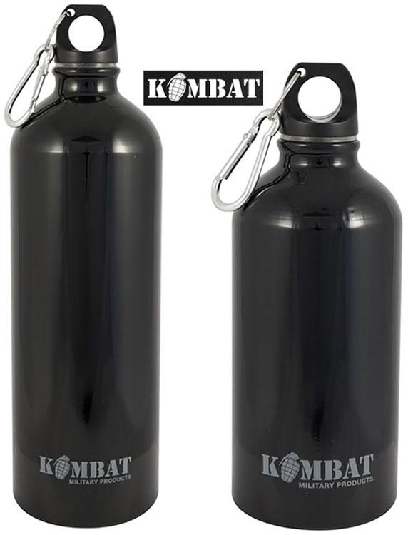 KOMBAT BLACK SCREW TOP ALUMINIUM WATER BOTTLE 500ML  Cadets Force CAMPING