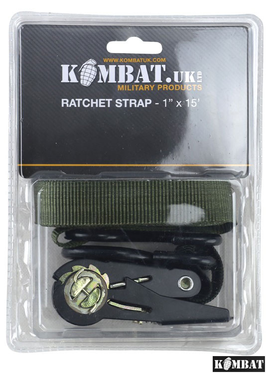 Kombat Army Combat Military Ratchet Camping Cargo Utility Strap Roof Rack Green