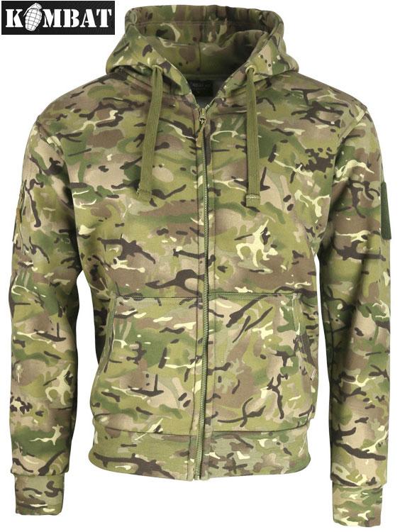 Mens Army Combat Military Spec Ops Hoodie Hooded Zip Top Jacket BTP Fleece Camo