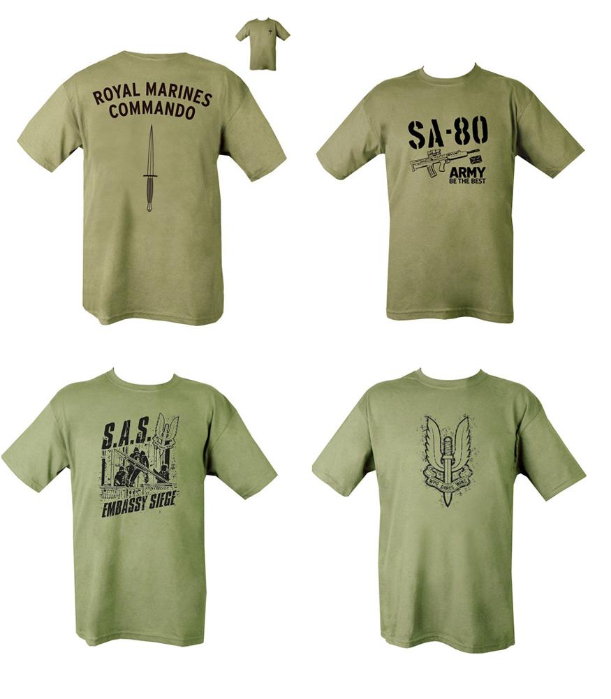 Military british army combat printed t shirt sa80 para sas for Army design shirts online